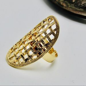 Jewelry - Gold tone woven shield adjustable ring